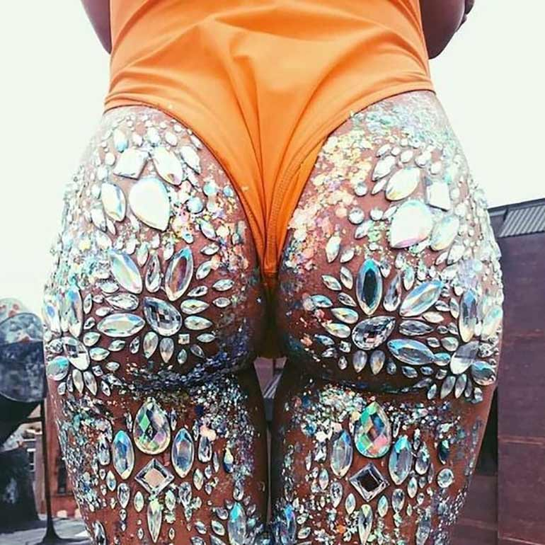 jewelled glitter butts trend