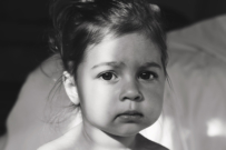 sad toddler black and white