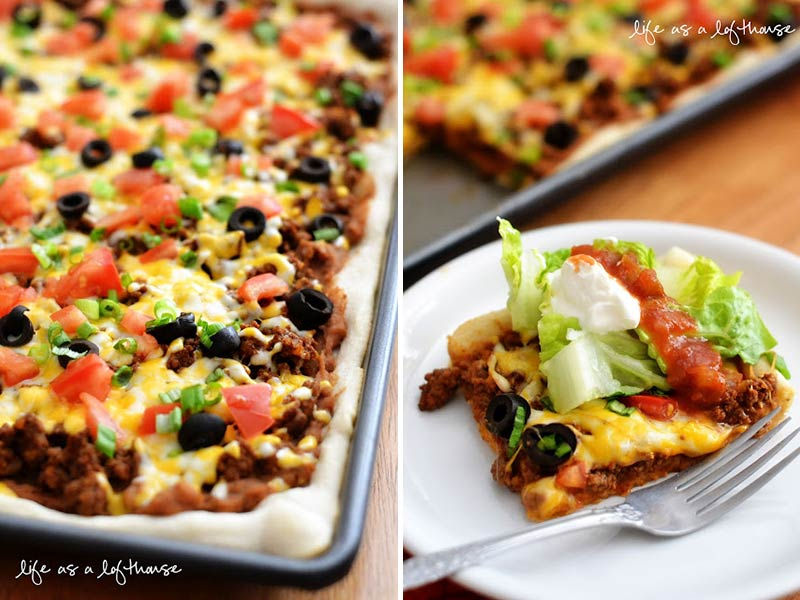 turn leftover taco mince into Mexican pizza