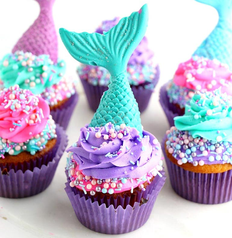 Party food mermaid cupcakes