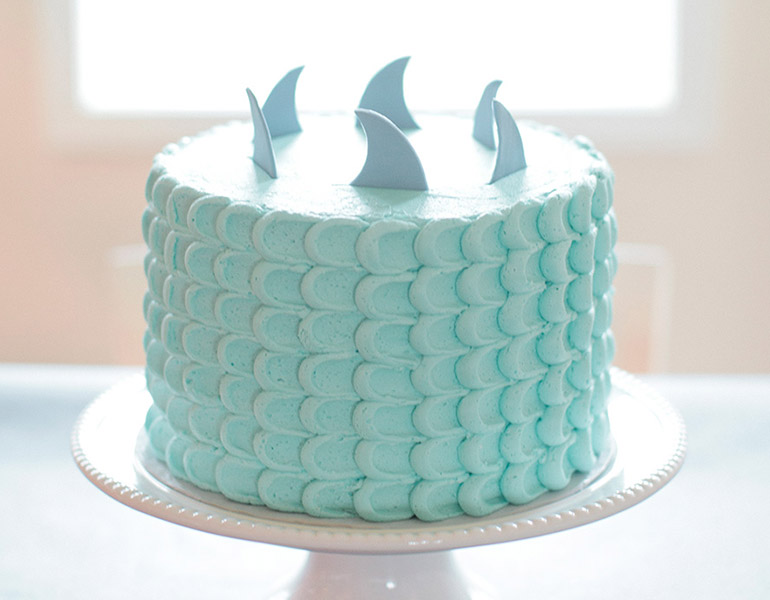 Party food shark birthday cake