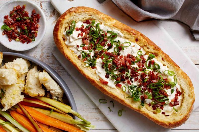 Spring onion and bacon cob loaf dip