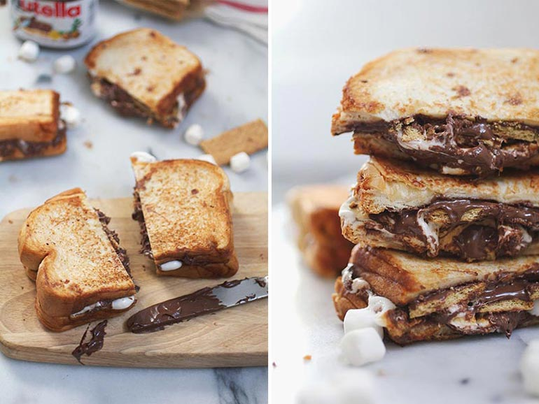 Nutella and marshmallow grilled sandwich