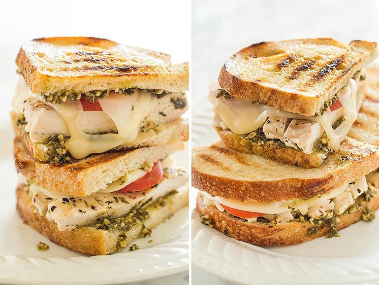 Pesto and chicken grilled sandwich