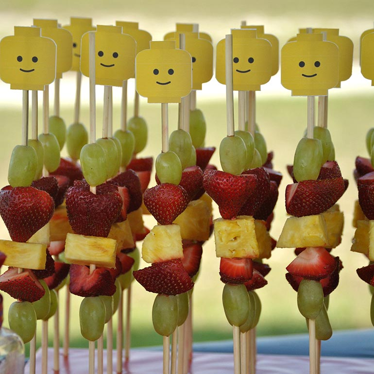 Lego themed fruit skewers