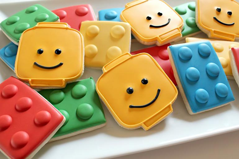 Lego themed cookies, biscuits - Lego party food ideas