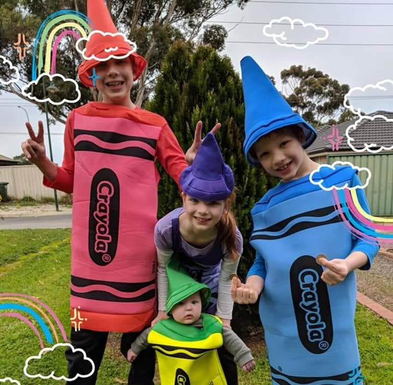 Book week costumes crayons