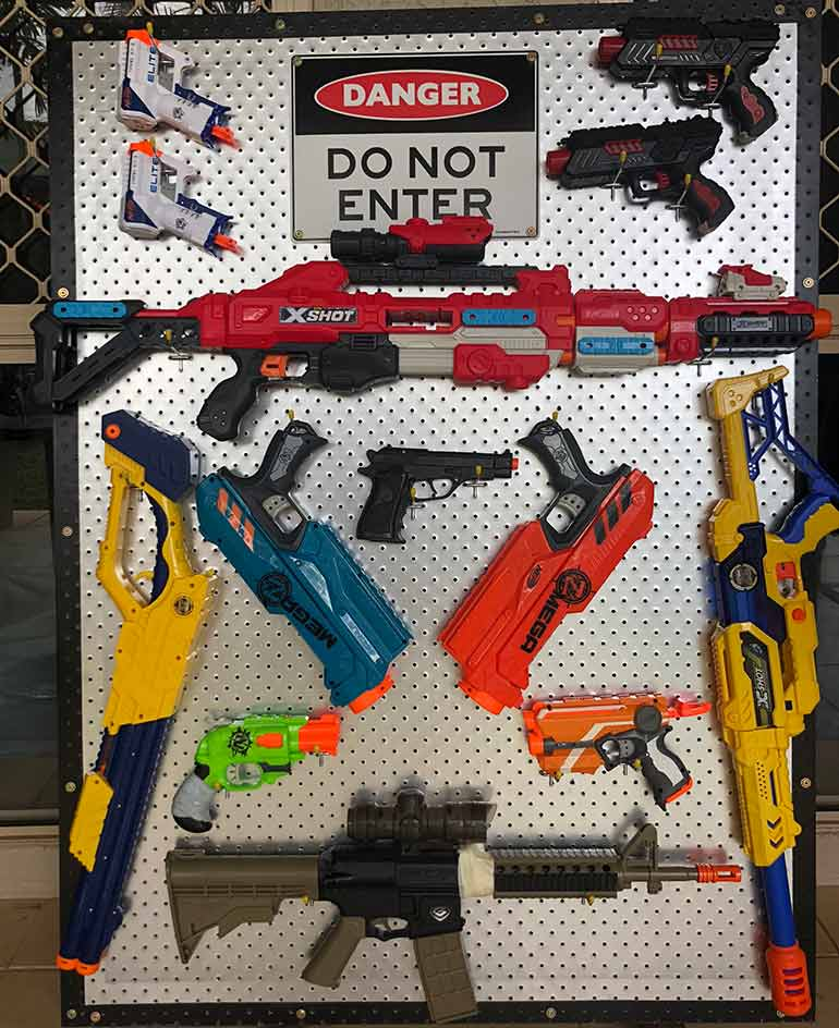 Kids nerf gun collection