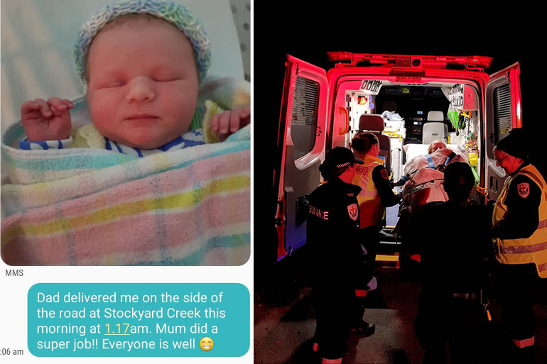 dad delivers baby on side of road