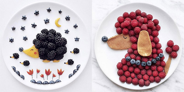 Cute fruit berry plates