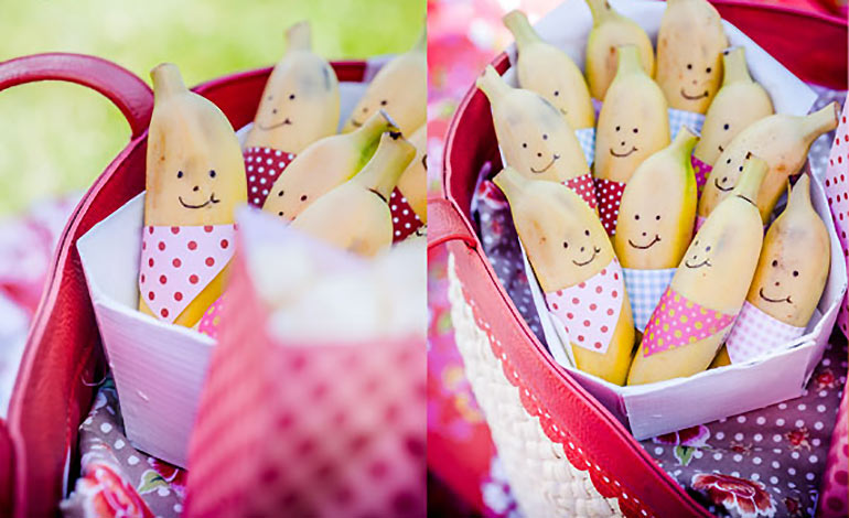 Cute fruit fancy dress bananas