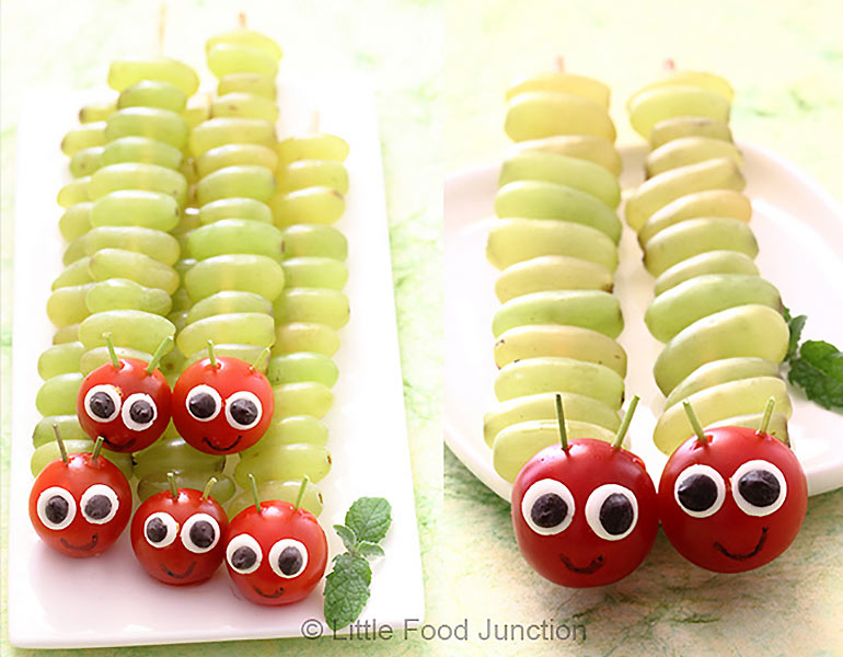 Cute fruit caterpillar skewers