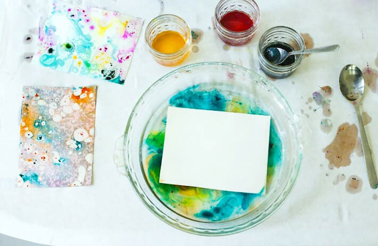 Kids craft activity marble painting