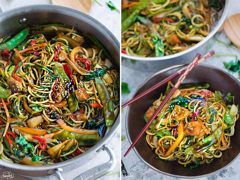 Spiraliser chicken chow mein recipe