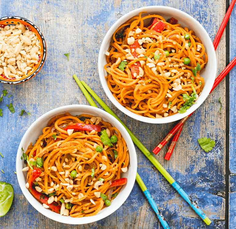 Spiraliser sweet potato noodles