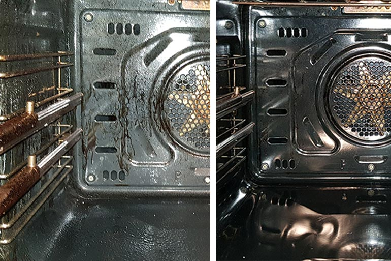 how to clean an oven before and after