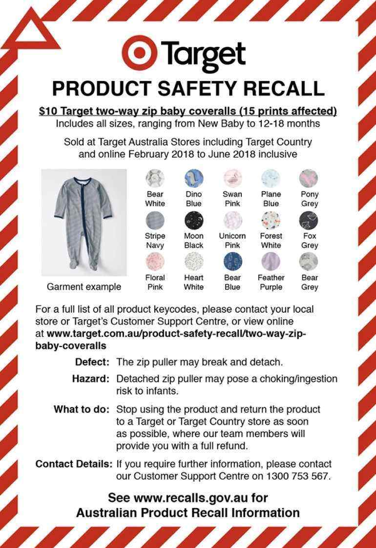 6f7ea129a0f Baby Bunting and Target Recall Baby Coveralls Over Choking Risk ...