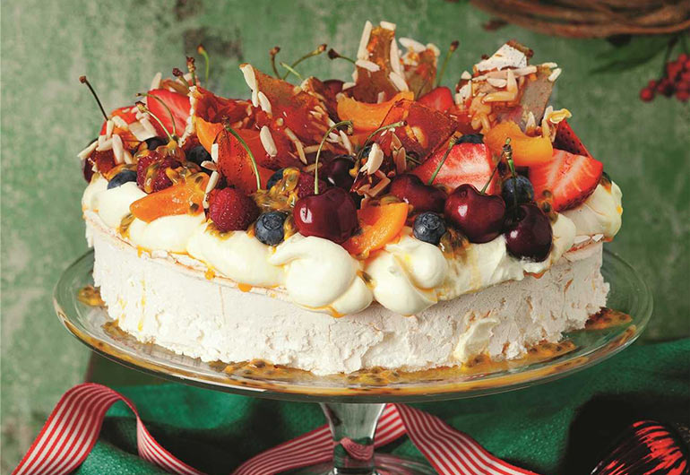 cherry and berry pavlova
