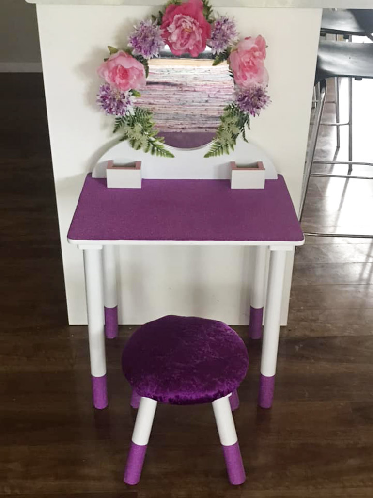 kmart vanity table hacks