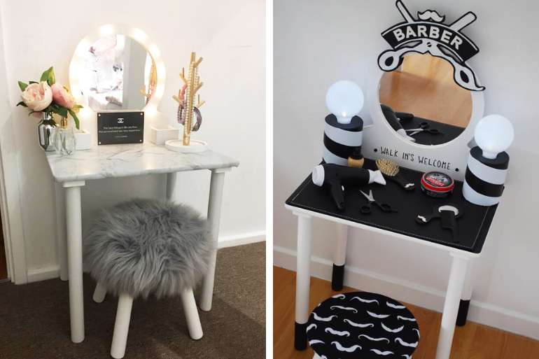 Kmart kids vanity table hacks
