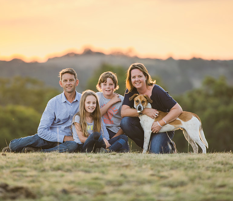 Skin cancer survivor Louise Burgess and her family