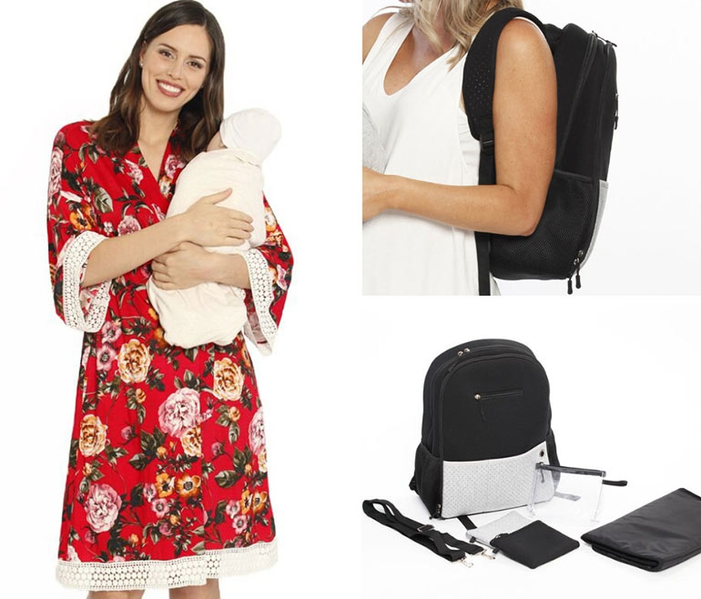 maternity robe, nappy backpack