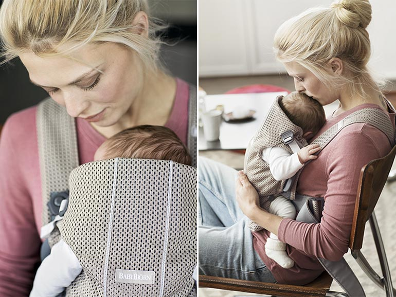 BabyBjorn baby carrier, mother and baby