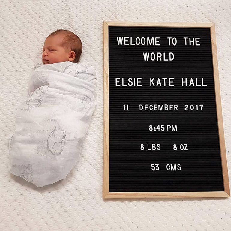 Kmart letter board baby birth announcement