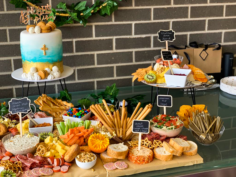 grazing table for a christening