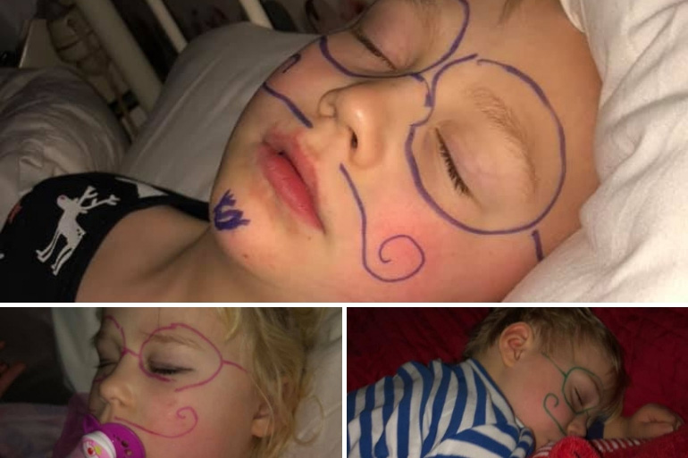 Kids faces drawn on