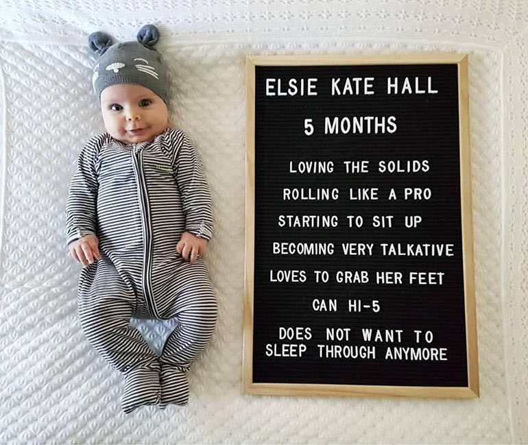 Kmart letter board baby milestone photo idea