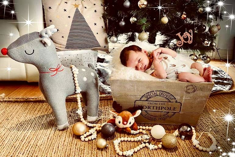 Kmart Christmas box baby photo shoot