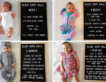baby milestone photo idea using Kmart letter board