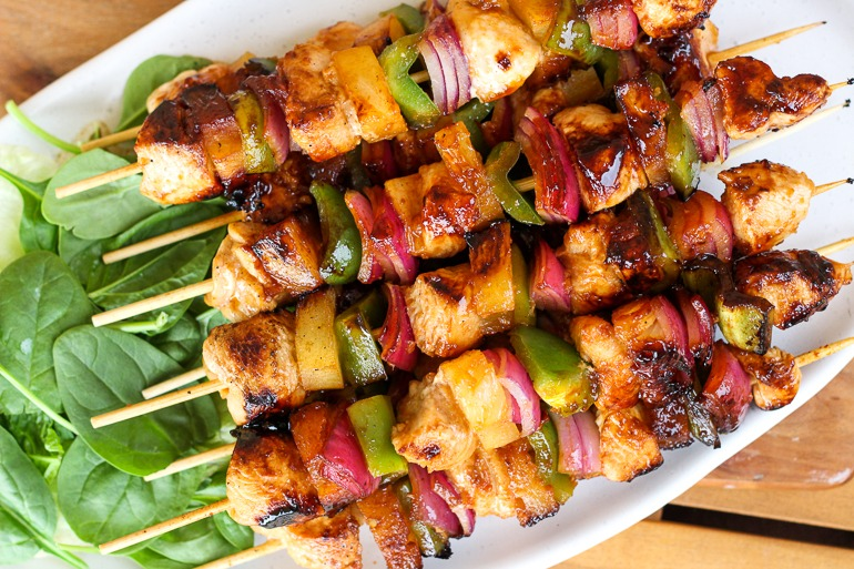 BBQ Hawaiian Chicken Kebabs recipe