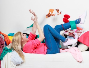 woman decluttering, tidy house