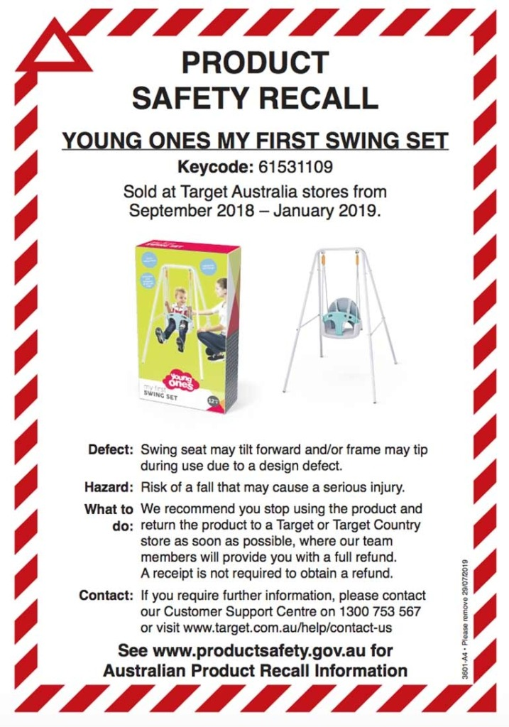 Young Ones My First Swing Set recall notice
