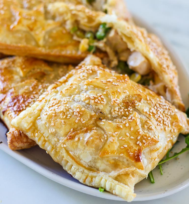 chicken and leek pastry parcels recipe