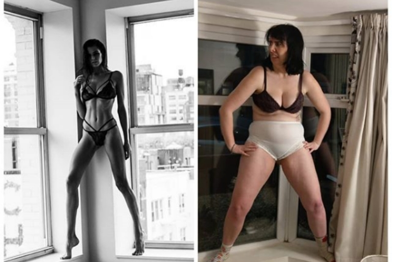 Laura Belbin recreating model pose stood on windowsill in underwear