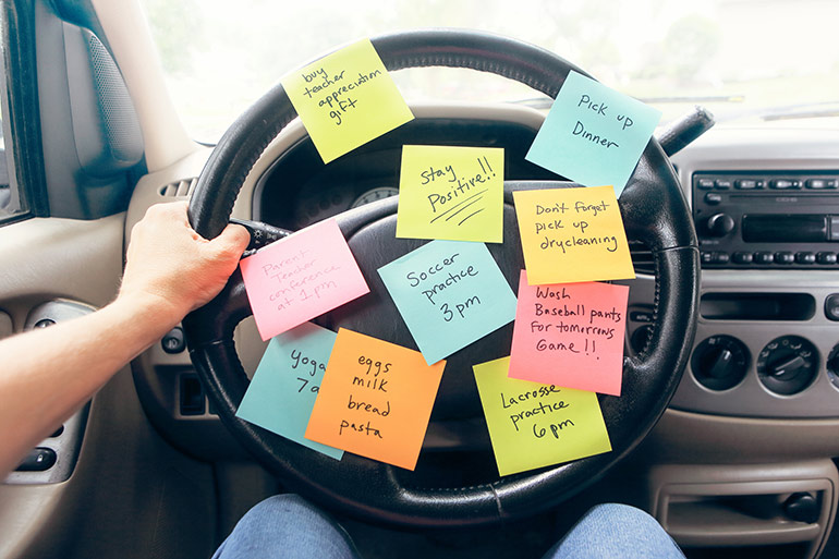 to do list on car steering wheel, parental burnout