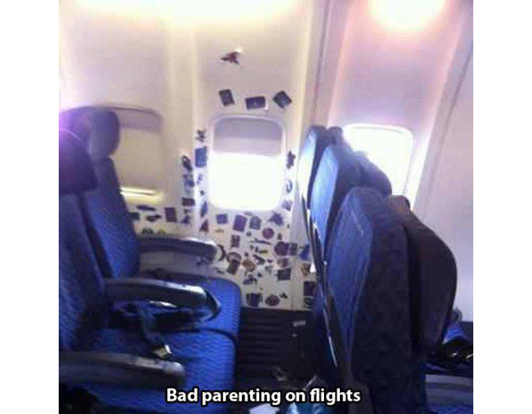 meme, stickers stuck to plane cabin