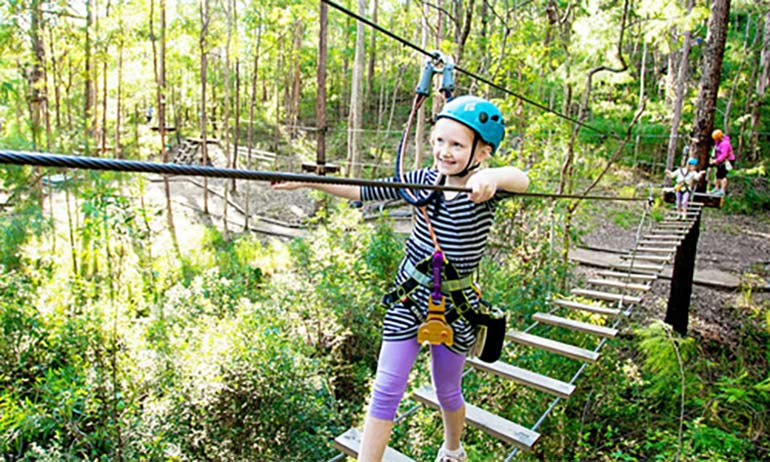 red balloon school holiday activities ziplining