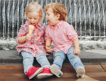 toddlers, ice cream, outside