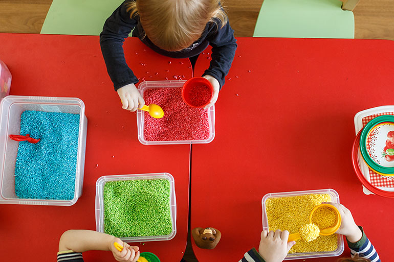 coloured rice sensory play benefits