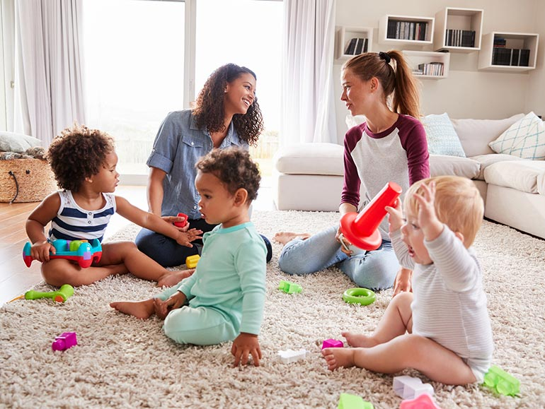 women and toddlers playdate, toys, lounge room