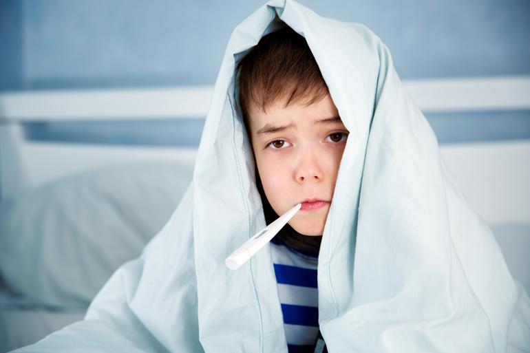 boy with fever, sick child