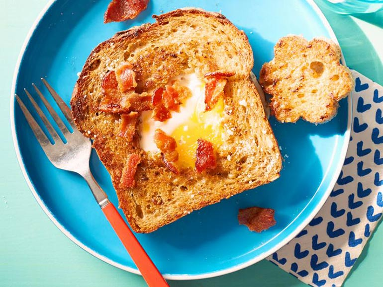 kids breakfast, egg and toast
