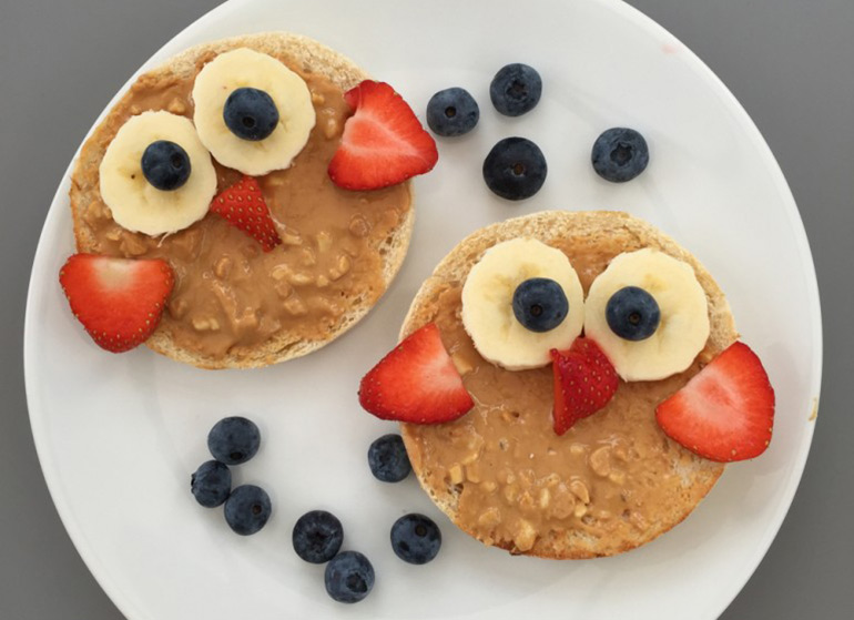 cute owl toast, kids breakfast