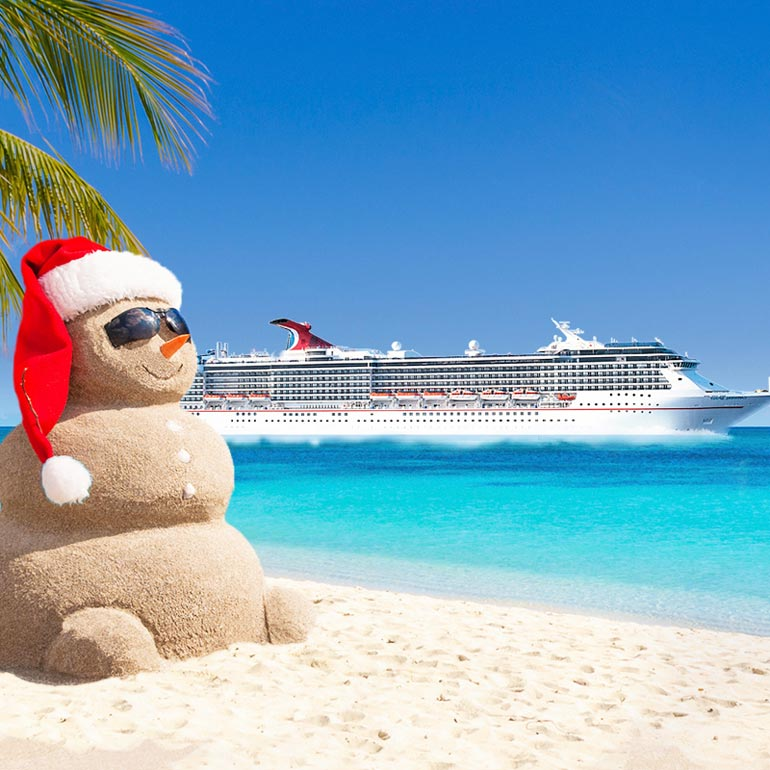 Christmas snowman on the beach
