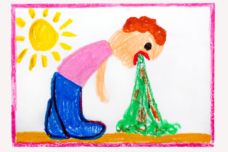 drawing of child vomiting, gastro in kids