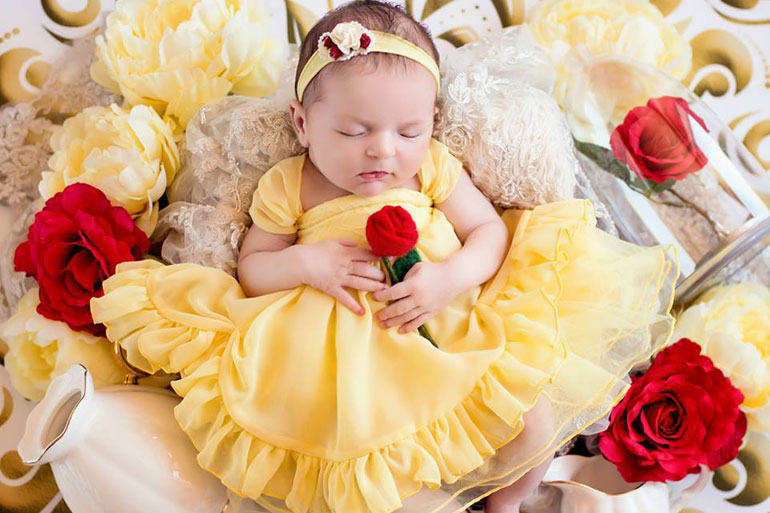 newborn photo disney princesses